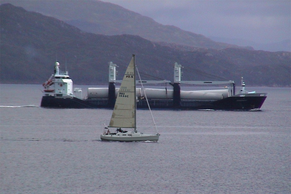 Yacht and ship near Oban, Scotland