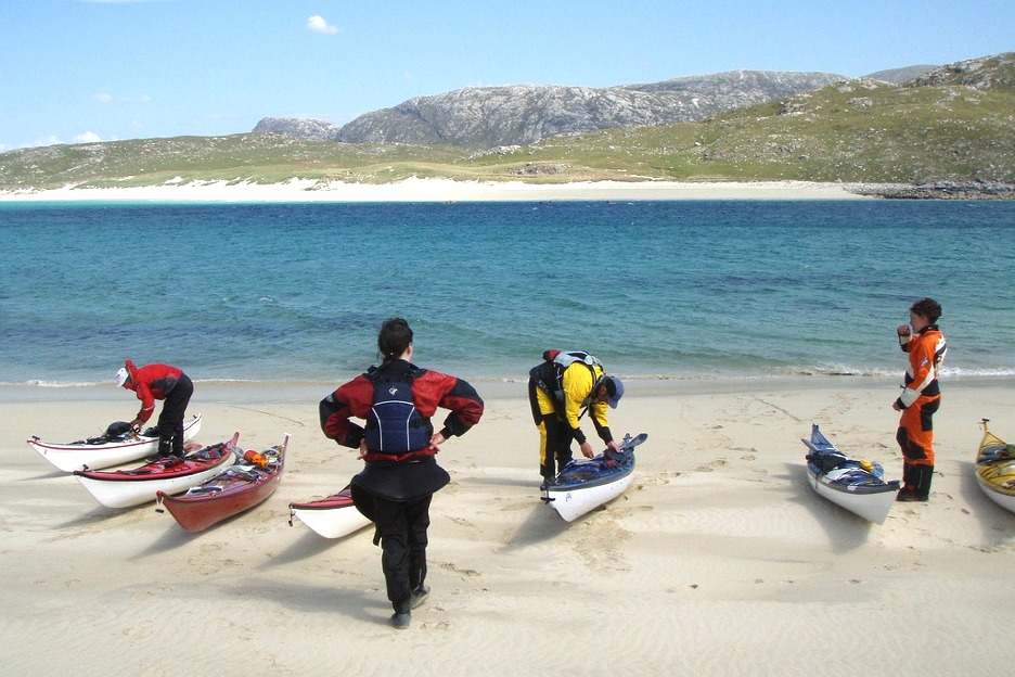 Sea kayakers on Hebrides beach