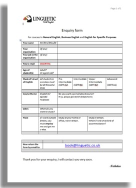 Thumbnail of Enquiry Form