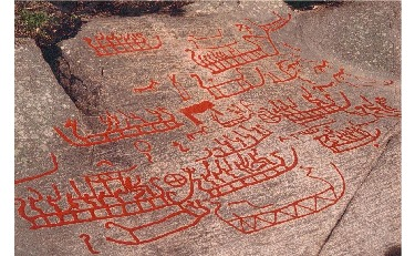 Skin boat carvings at Kalnes